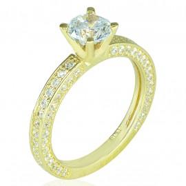 Δαχτυλίδι μονόπετρο χρυσό K14 με λευκά ζιργκόν στην γάμπα του σε όλες τις πλευρές Νο 55