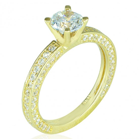 Wedding ring gold K14 with zircon in all sides No 55