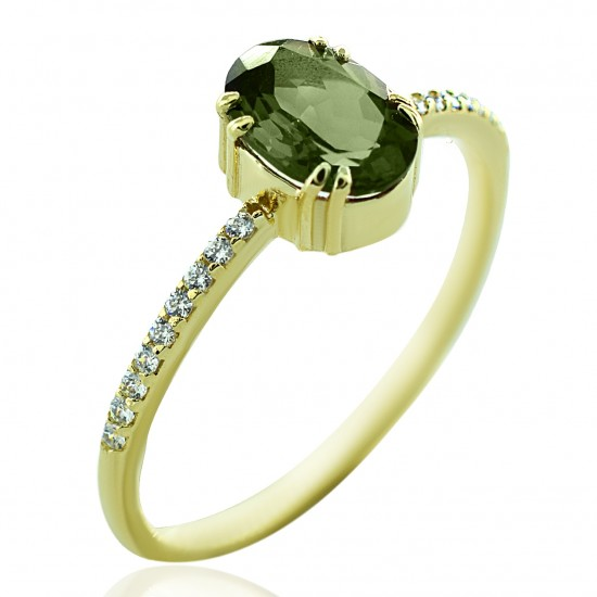 """Gold ring K14 with white zircon and tourmaline Νο 54  The name of the stone is derived from the Kulaan word """"turamali"""" used by t"""