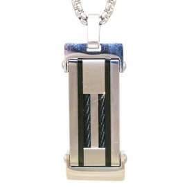 Men's pendant plate made of stainless steel and chain 55-60cm