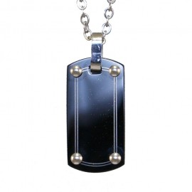 Men's pendant plate made of stainless steel and chain 50cm