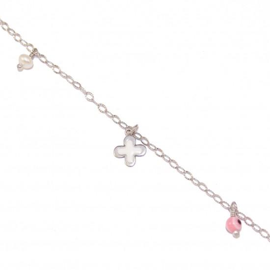 Silver bracelet with enamel Cross pearl and an eye