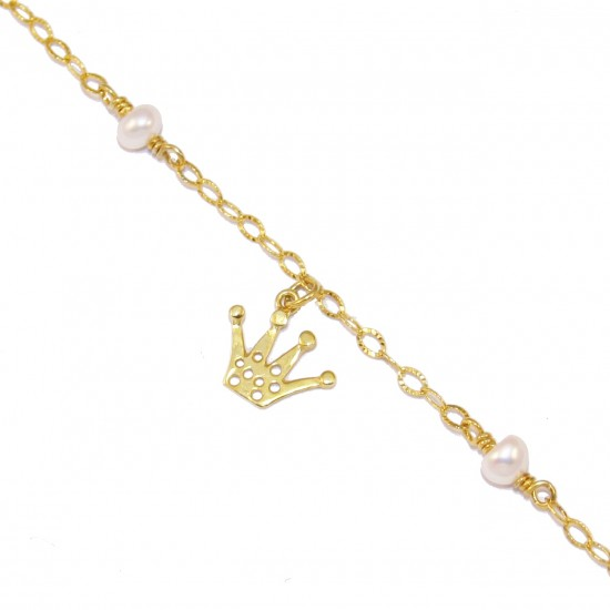 Bracelet silver gold-plated with crown pattern and pearls