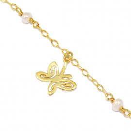 Bracelet silver gold-plated with butterfly pattern and pearls