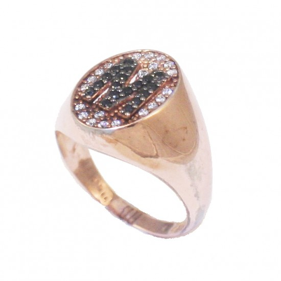 Silver chevalier ring with monogrammed M with rose gold plated and white - black zircon on the head No 53