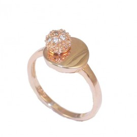 Silver ring rose gold plated and white zircons No. 52