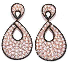 Silver earrings with rose gold plated with white zircon and black spinel
