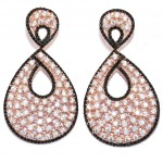 Silver earrings with rose gold plated with white zircon and black spinel 04442008
