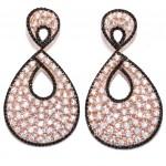 Σκουλαρίκια ασημένια με ροζ επιχρύσωμα με λευκά ζιργκόν και μαύρα σπίνελ
