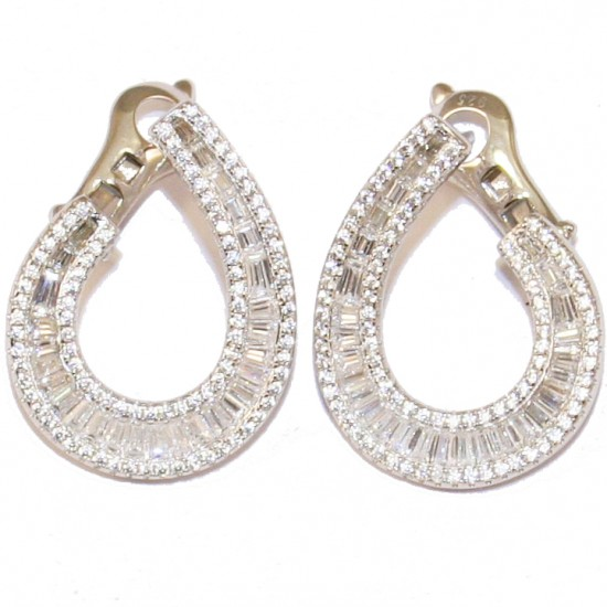 Silver earrings with white zircon white paillettes and platinum plated