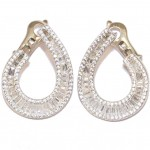 Silver earrings with white zircon white paillettes and platinum plated 04304005