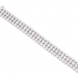 Silver tennis bracelet triple platinum and white zircons