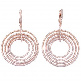 Silver earrings rings with white zircon and rose gold-plated