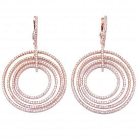 Σκουλαρίκια ασημένια κρίκοι με λευκά ζιργκόν και ροζ επιχρύσωμα