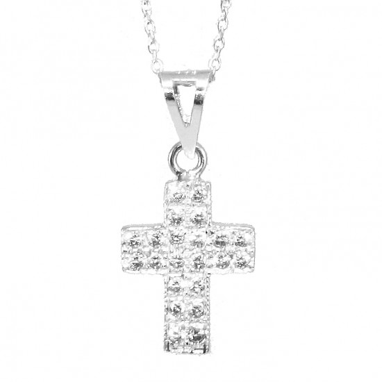 Cross platinum K14 with white zircon and chain for baptism or gift Chain length 45cm