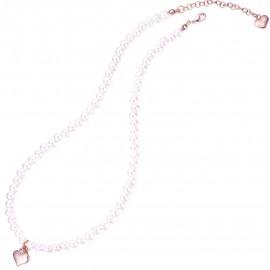 Κολιέ με σχέδιο σε σχήμα καρδιάς από ανοξείδωτο ατσάλι σε ροζ χρώμα με λευκό ζιργκόν και πέρλες Μήκος καδένας 40-45cm