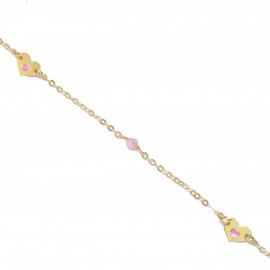 Children's gold bracelet K9 with enamel pattern heart and quartz