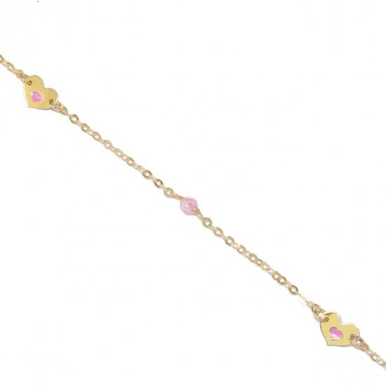 Children's gold bracelet K9 with enamel pattern heart and quartz