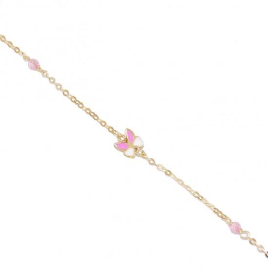 Children's gold bracelet K9 with enamel pattern butterfly and quartz