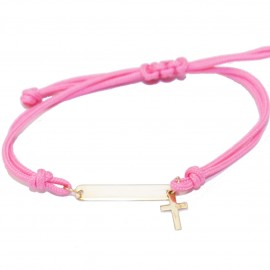Children's K9 gold bracelet with Cross and cord for baptism or gift