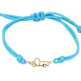 Children's gold bracelet K9 with car pattern and cord