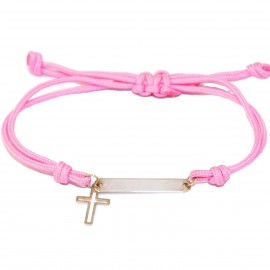 Children's K9 gold bracelet with Cross and cord for baptism or gift FRC15