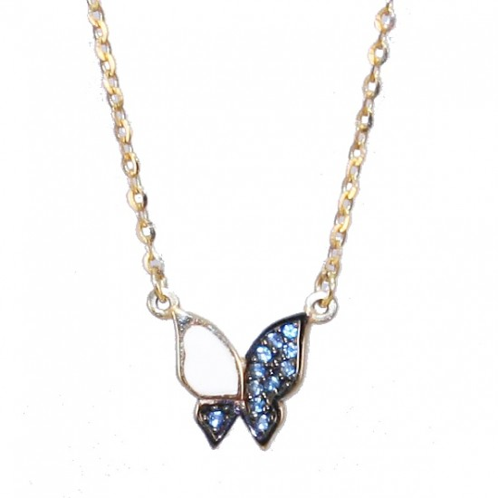 Gold necklace K9 with butterfly design with white enamel blue zircon and black platinum