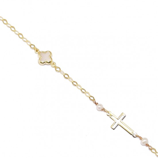 Children's K9 gold bracelet with Cross design with mother of pearl 09294