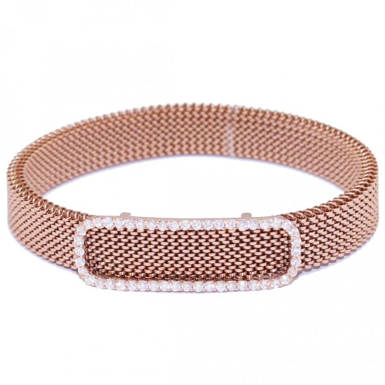 Bracelet in rose gold K9 oval with white zircons and stainless steel body M470
