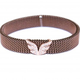 Bracelet in pink gold K9 design with the wings of angels with white zircons and body made of stainless steel in brown color