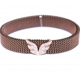 Βραχιόλι σε ροζ χρυσό K9 σχέδιο με τα φτερά των αγγέλων με λευκά ζιργκόν  M370