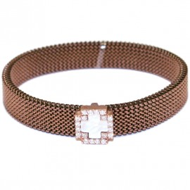 Rose gold bracelet K9 with Cross design with white zircon mother of pearl and brown color stainless steel body