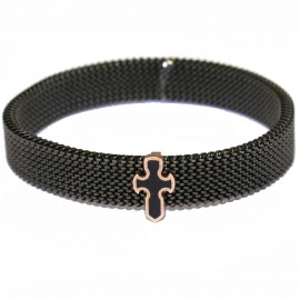 Rose gold bracelet K9 with Cross design with enamel and black color stainless steel body