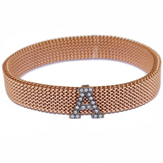 Rose gold K9 bracelet with monogram A with white zircon black platinum and body made of stainless steel in rose gold color