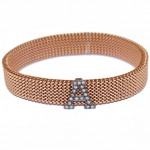 Rose gold K9 bracelet with monogram A with white zircon black platinum and body made of stainless steel M360B