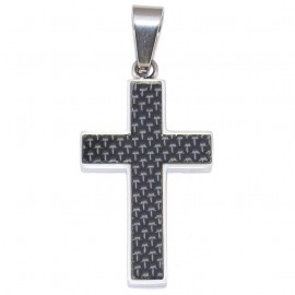 Stainless steel Cross for men and carbon fiber The Cross can be accompanied by a 50cm stainless steel chain of 5 €