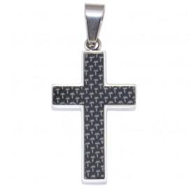 Σταυρός για τον άνδρα από ανοξείδωτο ατσάλι και ανθρακόνημα SP974