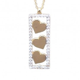 Gold necklace K9 plate with hearts with white zircon Length of chain 40-45cm