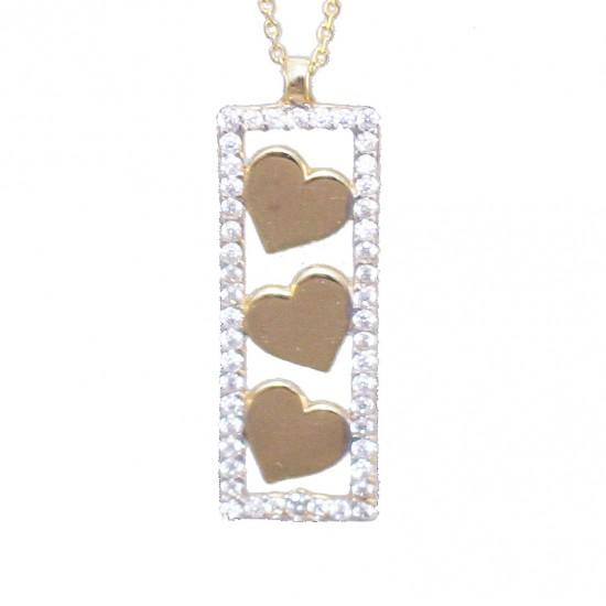 Κολιέ χρυσό Κ9 μπάρα με καρδιές με λευκά ζιργκόν Μήκος καδένας 40-45cm