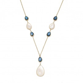 Gold necklace K14 with London blue stones and enamel Chain length 40cm-45cm