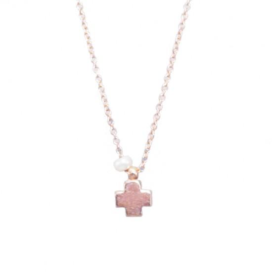 Κολιέ ροζ χρυσό Κ14 Σταυρός και μαργαριτάρι Μήκος καδένας 40-45cm 33d897300c4