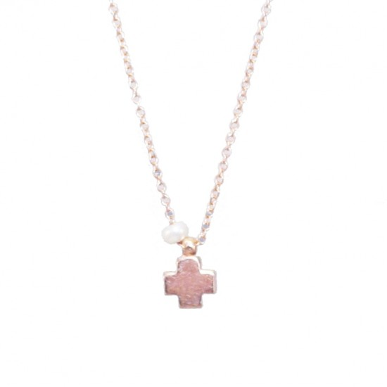 Rose Gold necklace Κ14 with Cross and pearl Chain length 40cm-45cm