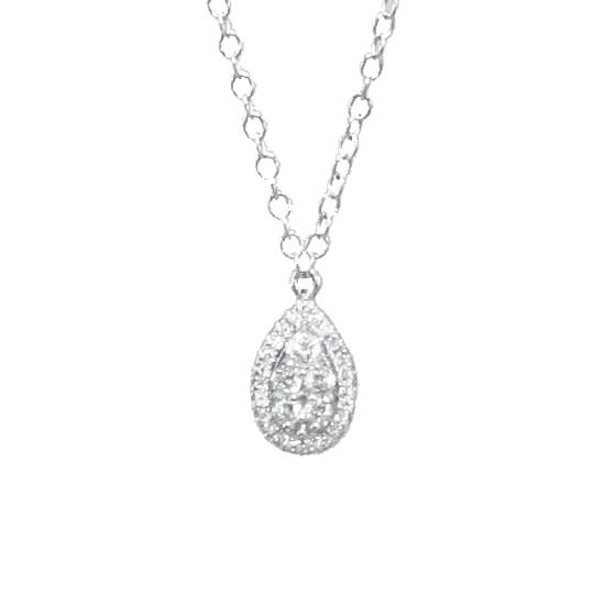 Κολιέ με σχέδιο σταγόνας λευκόχρυσο Κ14 με 5 φυσικά διαμάντια κοπής  μπριγιάν διαμάντια 0 107059d7274