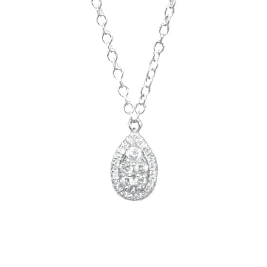 White Gold women necklace K14 with 5 natural diamonds 0.10ct and 23 natural diamonds 0.03ct Chain length 40cm-45cm