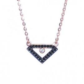 Κολιέ ροζ χρυσό Κ9 με σχέδιο διαμαντιού με μαύρα ζιργκόν και μαύρη πλατίνα Μήκος καδένας 40-45cm