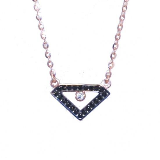 Rose gold necklace K9 with diamond design black zircons and black platinum Chain length 40cm-45cm
