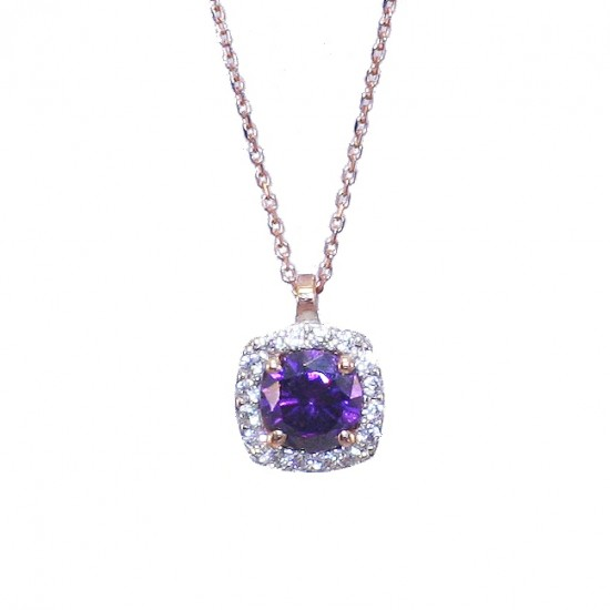 Necklace rose gold K9 rosette with amethyst color stone and white zircon Chain length 40cm-45cm