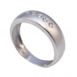 Δαχτυλίδι λευκόχρυσο Κ14 vintage σατινέ και λευκά ζιργκόν Νο 55