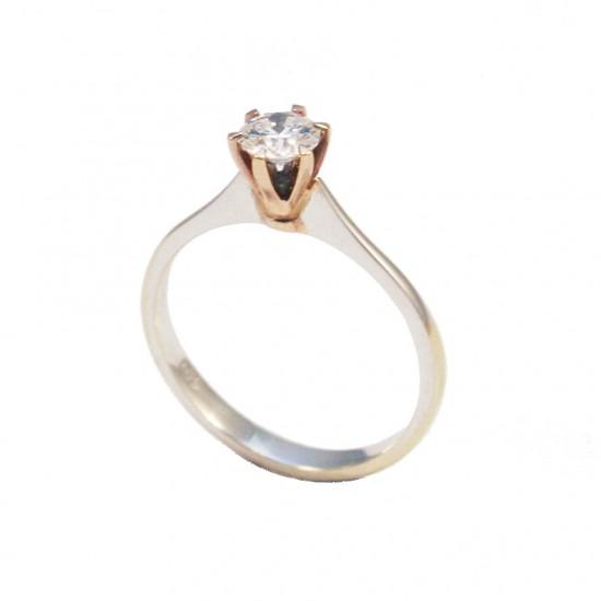 Δαχτυλίδι μονόπετρο λευκόχρυσο Κ18 με ροζ χρυσό δέσιμο και μπριγιάν 0,37ct χρώματος rare white + F καθαρότητας SI1 και συνολικού