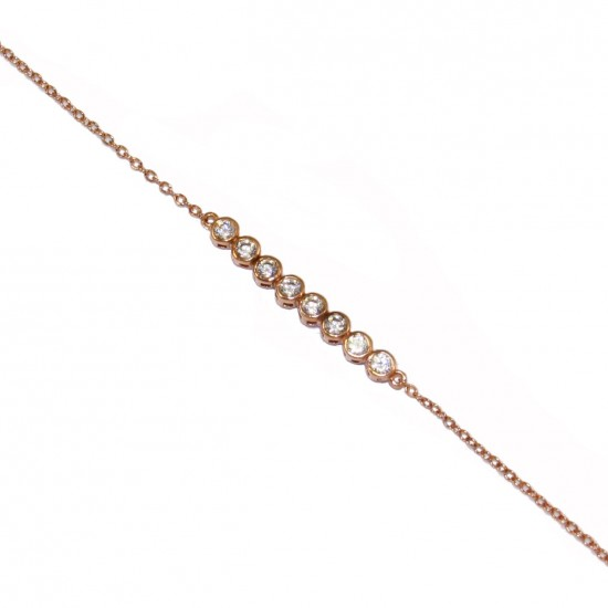 Silver bracelet with white zircons and rose gold plated